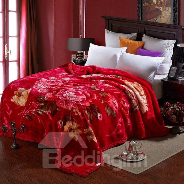 Top Grade Red Floral Print Thickened Blanket