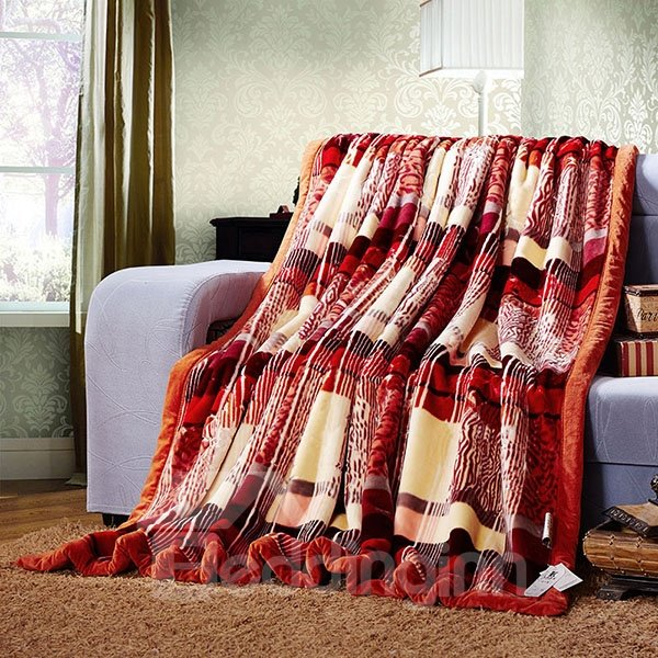 Classical Plaid and Stylish Leopard Design Blanket