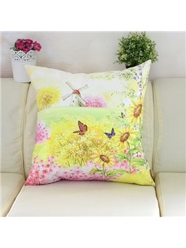 Pastoral Bright Field Scenery Printing Plush Throw Pillow