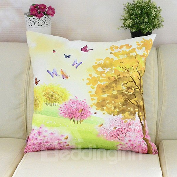 Colorful Butterflies Flying in Forest Printing Plush Throw Pillow