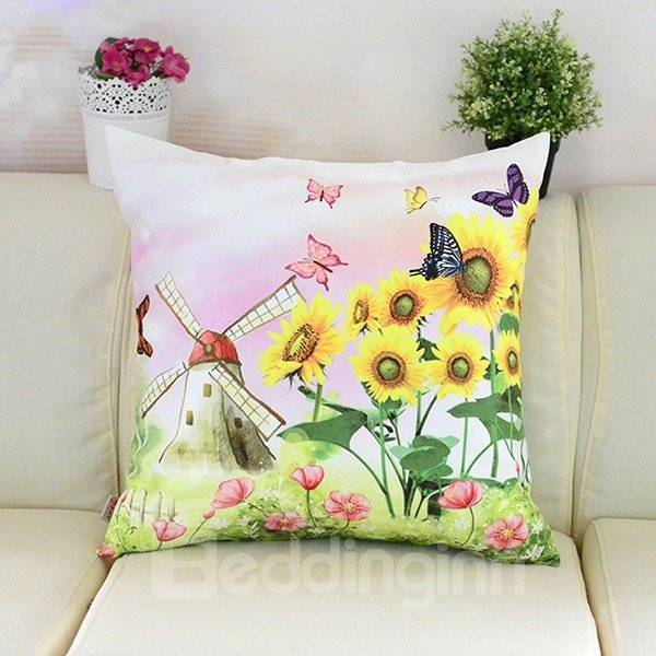Bright Butterflies Sunflowers and Windmill Printing Plush Throw Pillow