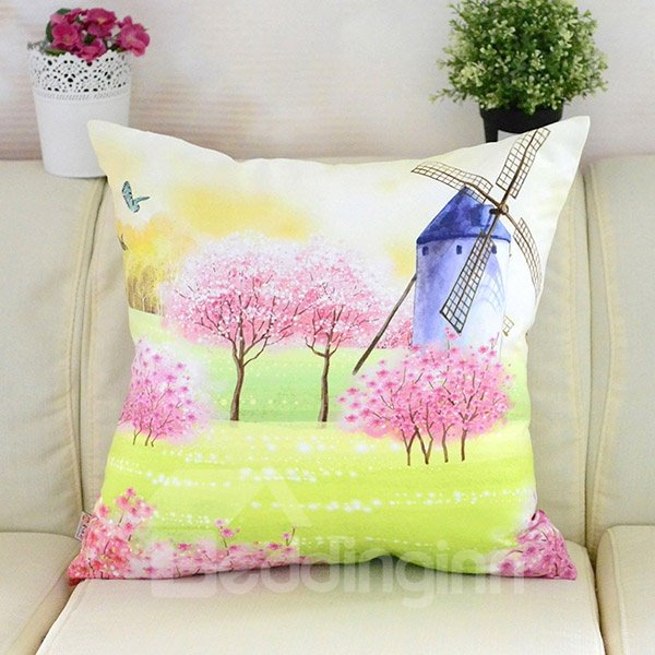 Pastoral Bright Treed And Windmill Printing Plush Throw Pillow