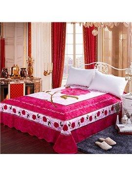 Pretty Romantic Rosy Flower Print Cotton Sheet