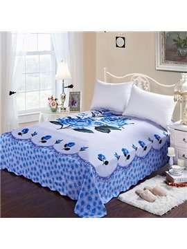 Elegant Blue Roses Printing Soft Cotton Sheet
