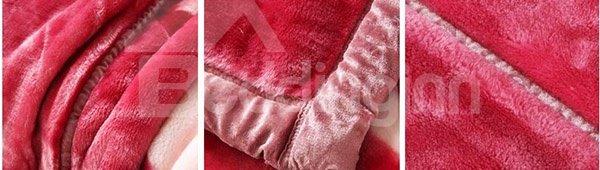 Sweet Romantic Pink Roses Printing Warm Raschel Blanket