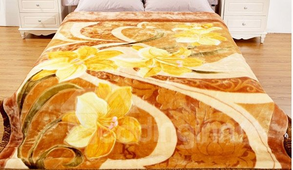 Graceful Yellow Floral Print Thick Warm Raschel Blanket