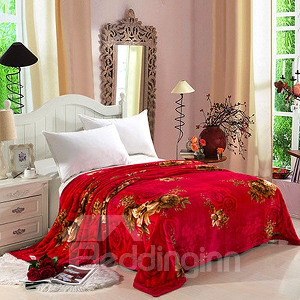 Romantic Red Roses Print Soft Coral Fleece Blanket