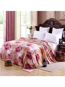 Bright Red Peonies Printing with Camel Background Design Warm Blanket