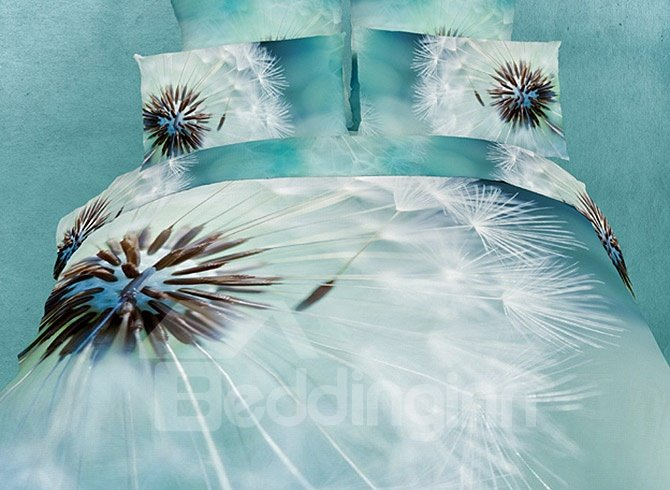 Luxury 100% Cotton Lifelike Dandelion Print 4 Piece Duvet Cover Sets   beddinginn com
