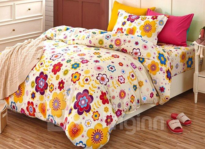 Elegant Colorful Flowers Pattern Kids 3-Piece Duvet Cover Set
