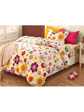 Elegant Colorful Flowers Pattern Kids 3-Piece Duvet Cover Set