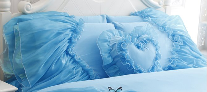 Blue Cinderella Princess Style Girls 4-Piece Cotton Duvet Cover Set