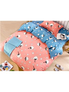 Lovely Cotton Flowers Pattern Kids 3-Piece Duvet Cover Set
