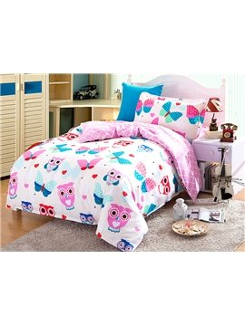 Lovely Owls and Butterflies Pattern Kids 3-Piece Duvet Cover Set