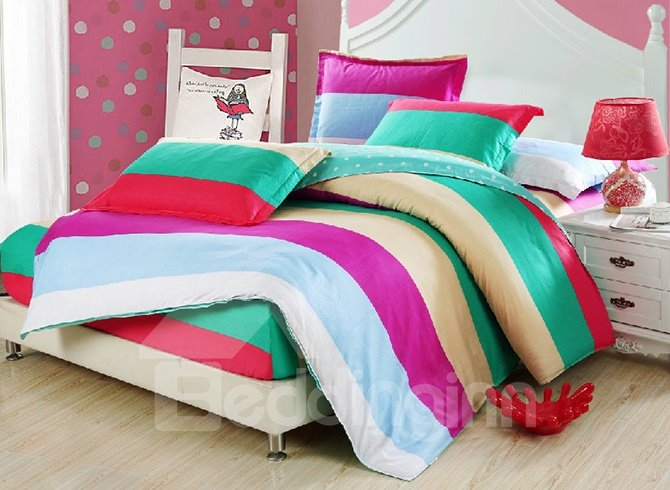 Lovely Color Block Design Kids 3-Piece Duvet Cover Set