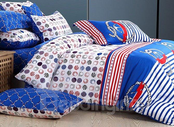 Stripes Pattern 100% Cotton Kids 4-Piece Duvet Cover Set