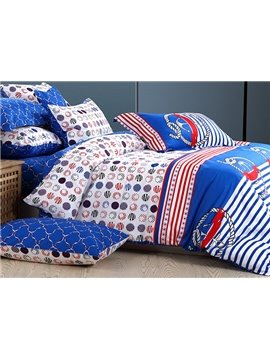 Stripes Pattern 100% Cotton Kids 4-Piece Duvet Cover Set