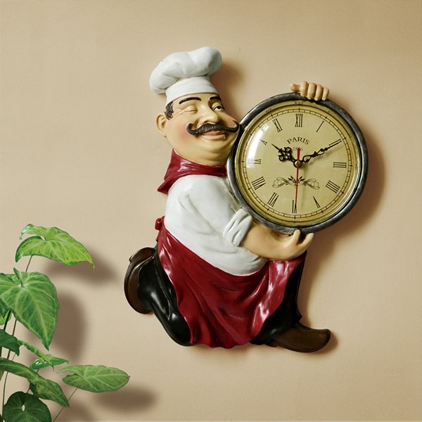 European Style Resin Chef Design Home Decorative Wall Clock
