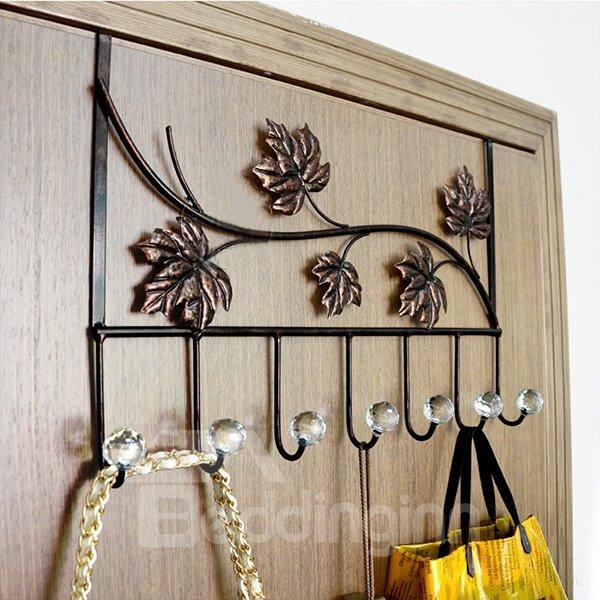 Wonderful Iron Artwork Leaves Pattern 7-Head Door Back Hooks