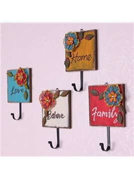 Pastoral Decorative Flowers and Letters Wood 4-Hook Wall Hooks