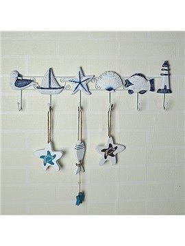 Mediterranean Style Decorative 6-Hook Wall Hooks