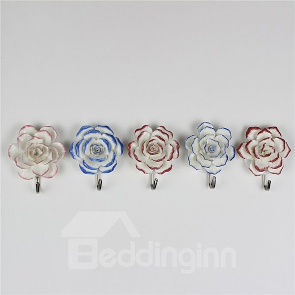 Wonderful 3D Ceramic Flowers Design Decorative 5-Hook Wall Hooks