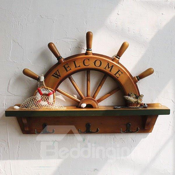 Mediterranean Style Wooden Sailing Rudder Design Wall Hooks