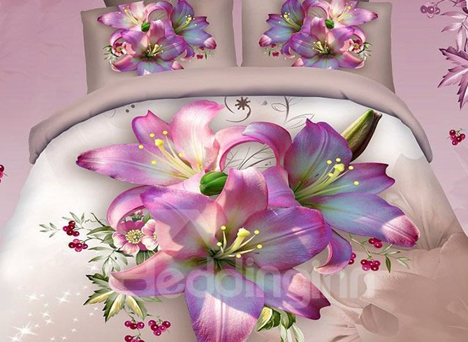 Pretty Pink Lily Print Cotton 2-Piece Pillow Cases