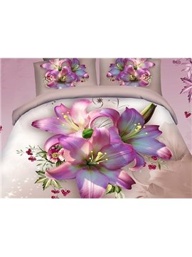 Pretty Pink Lily Print Cotton 2-Piece Pillow Cases
