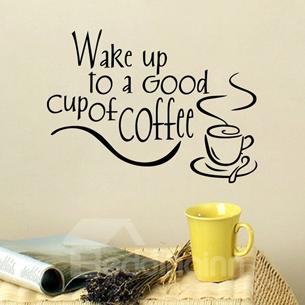 Creative Wake Up to a Good Cup of Coffee Removable Wall Sticker