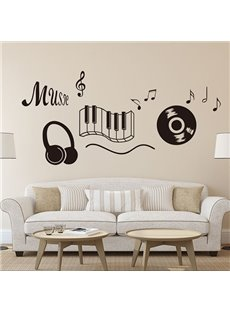 Black Music Note CD and Earphone Pattern Removable Wall Stickers