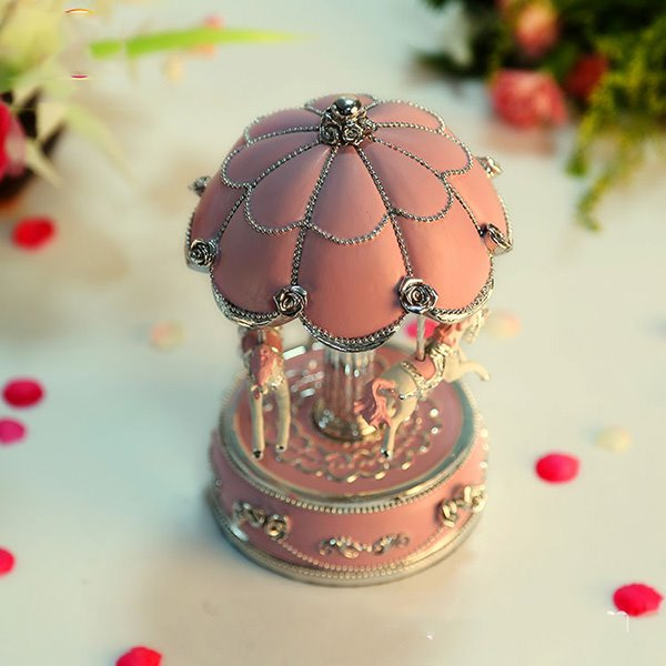 Gorgeous Umbrella Top Merry-go-round Musical Box Pink Gift Idea