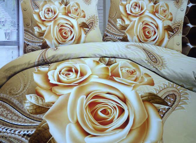 Retro 3D Three Roses Print 2-Piece Pillow Cases