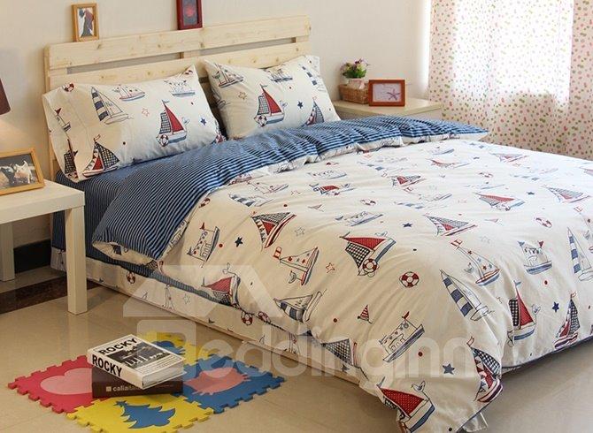 Lovely Sailing Ships Pattern Cotton 3-Piece Kids Duvet Cover Sets