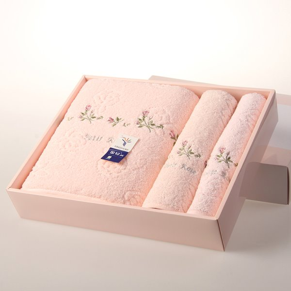 Delicate New Style Little Flower Pattern 100% Cotton Bath Tower Set