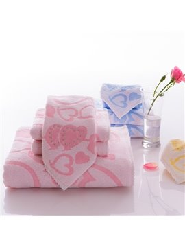 New Style Lovely Heart-shaped Pattern Soft Bath Tower Set