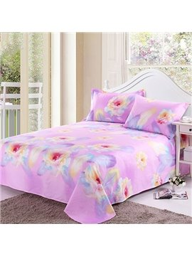 Cotton Bright Flowers and Feather Pink Printed Sheet