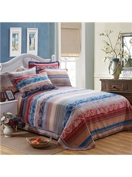 100% Cotton European Style Stripes Printed Sheet