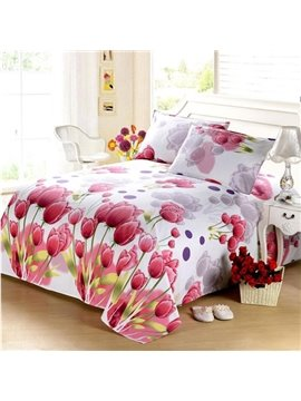 Pretty Red Tulips Soft Cotton Printed Sheet
