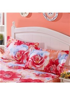 Pretty Blooming Floral Print Cotton 2-Piece Pillow Cases