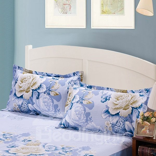 Beautiful White and Blue Peonies Print Cotton 2-Piece Pillow Cases