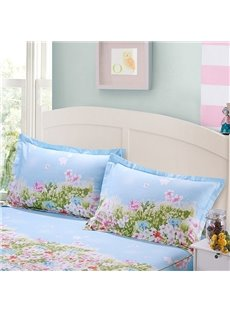 Pastoral Flowers and Grass Print Blue 2-Piece Cotton Pillow Cases