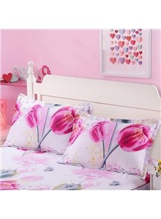 Bright Pink Tulips Print Cotton 2-Piece Pillow Cases