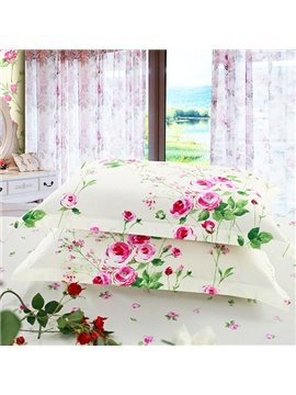 Fresh Small Rosy Flowers with Green Leaves Print Cotton 2-Piece Pillow Cases
