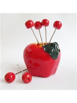 Cute Apple Design Resin Fruit Forks Desktop Decoration