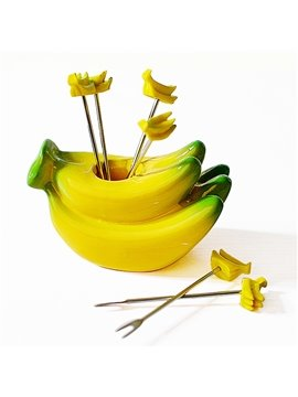 Creative Banana Design Resin Fruit Forks Desktop Decoration
