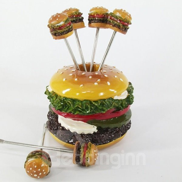 Creative Sandwich Design Resin Fruit Forks Desktop Decoration
