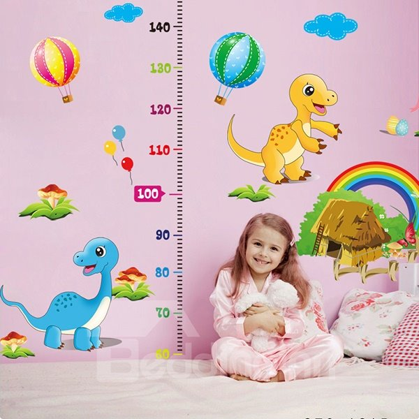 Rainbow and Dinosaurs Print Height Measurement Kids Wall Decal