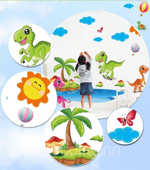 Super Cute Dinosaur On The Beach Wall Sticker For Baby