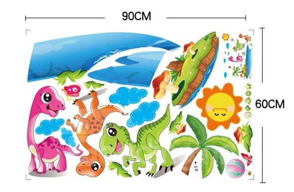 Super Cute Dinosaur on The Beach Wall Sticker for Baby&Kids